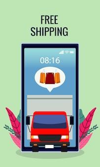 Tecnología de compras en línea con camión de reparto en ilustración de teléfono inteligente