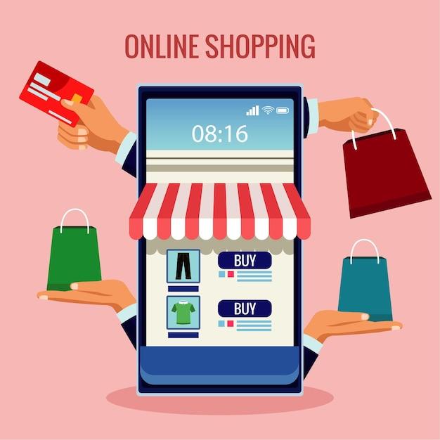 Tecnología de compras en línea con fachada de tienda en ilustración de teléfonos inteligentes y bolsos