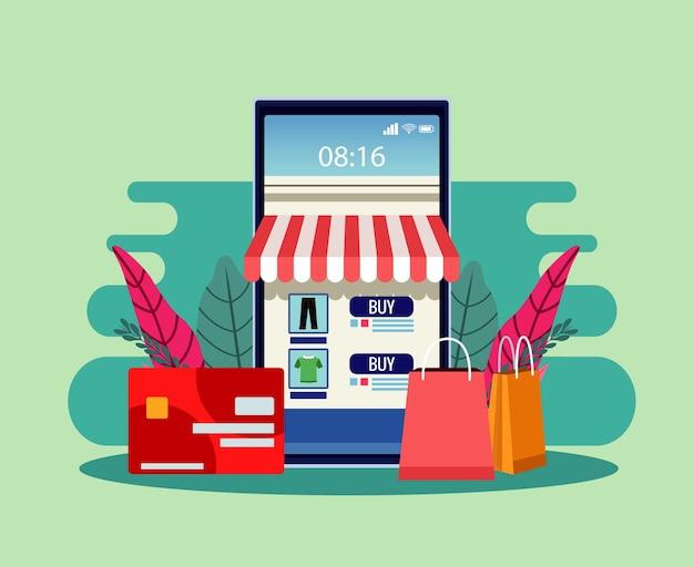 Tecnología de compras en línea con ilustración de teléfono inteligente y tarjeta de crédito