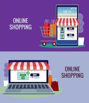 Tecnología de compras en línea en teléfonos inteligentes y computadoras portátiles con ilustración de carrito
