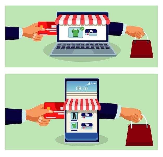 Tecnología de compras en línea en teléfonos inteligentes y computadoras portátiles con ilustración de tarjetas de crédito