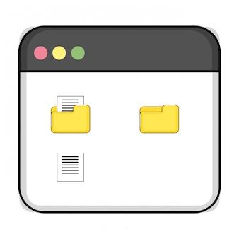 Tecnología computacional ventana de dibujos animados