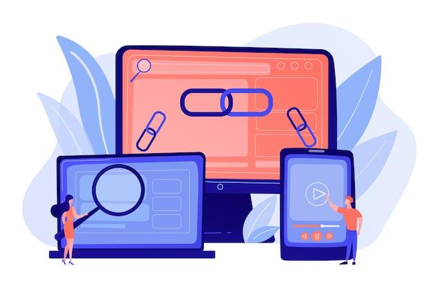 Tecnología de comunicación online, negocios en internet, investigación de mercados