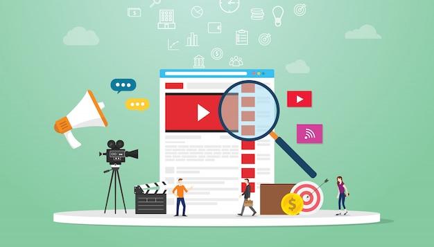 Tecnología de concepto de búsqueda de video en línea con lupa y equipo de negocios que busca en el navegador con un estilo plano moderno.