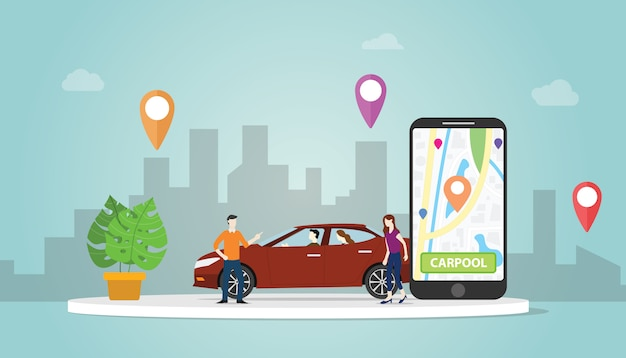 La tecnología de concepto de uso compartido de automóviles de carpool para personas en ciudades urbanas usa la localización de gps