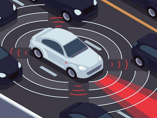 Tecnología de conducción autónoma del vehículo. concepto de vector de sistema de vigilancia de tráfico y asistente de coche