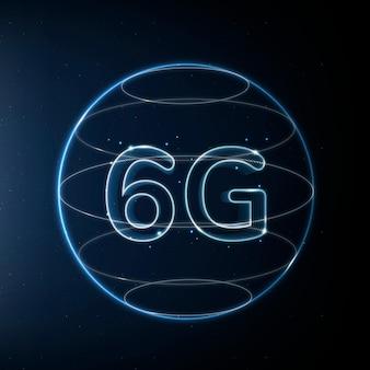 Tecnología de conexión global 6g azul en icono digital de globo