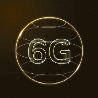 Tecnología de conexión global 6g oro en icono digital globo