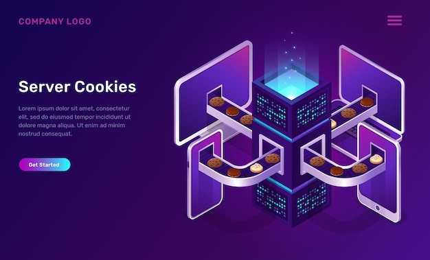 Tecnología de cookies del servidor, concepto isométrico