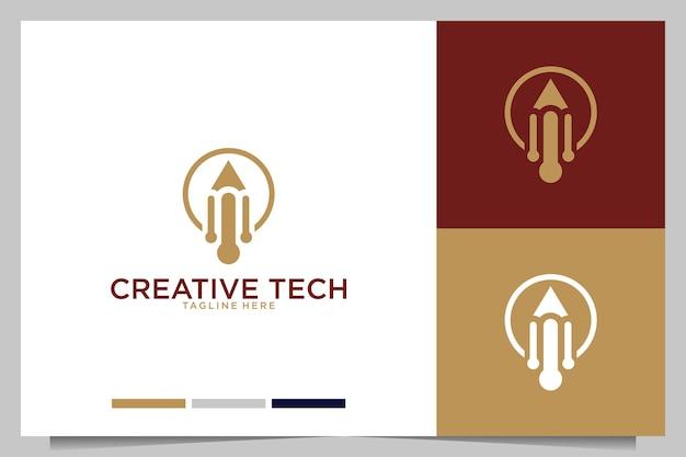 Tecnología creativa con diseño de logo de bolígrafo.