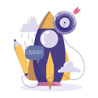Tecnología de creatividad, dibujos animados de idea de flecha de objetivo de lápiz de cohete