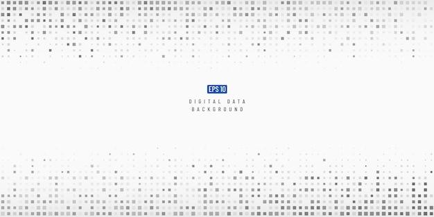 Tecnología de datos digitales abstractos fondo de píxeles cuadrados negros y grises.