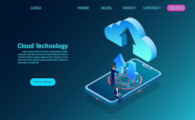 Tecnología de datos con intercambio de información entre el móvil y la página de inicio en la nube