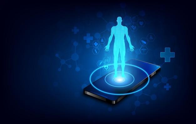 Tecnología de diagnóstico de escaneo humano de atención médica médica