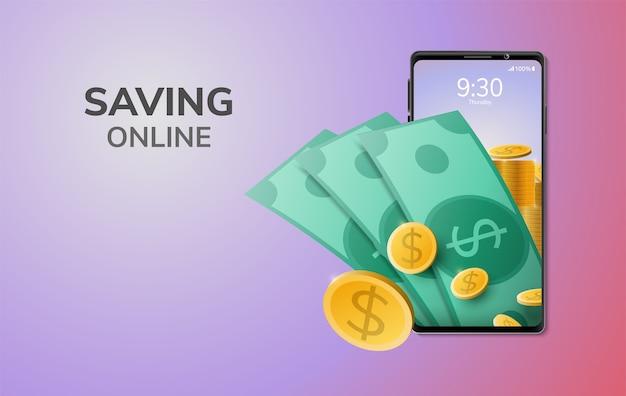 Tecnología digital ahorrar dinero en línea en el teléfono móvil