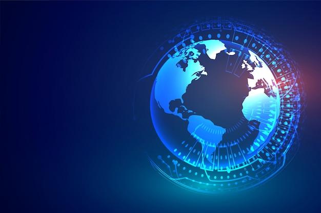 Tecnología digital con diagrama de tierra y circuito.