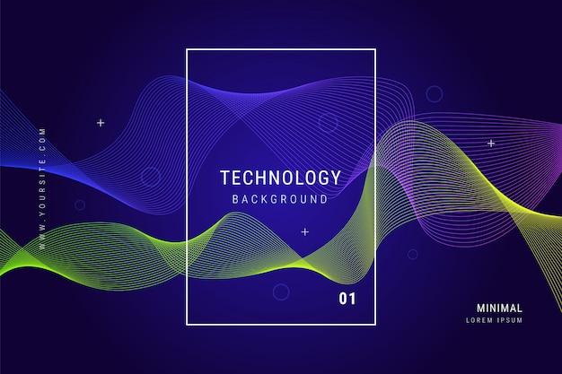 Tecnología digital líneas de onda malla fondo geométrico
