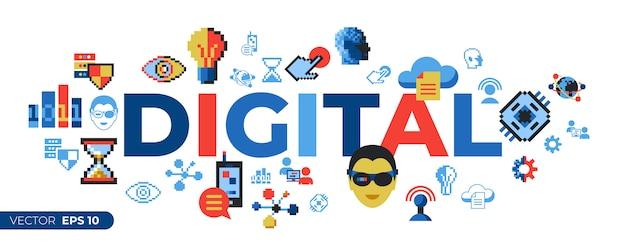 Tecnología digital de pixel art y conjunto de iconos de red