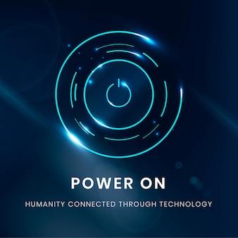 Tecnología digital de plantilla de botón de encendido
