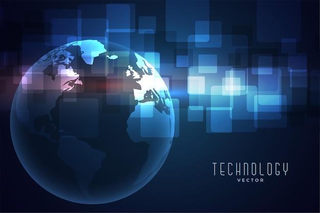 Tecnología digital red tierra azul
