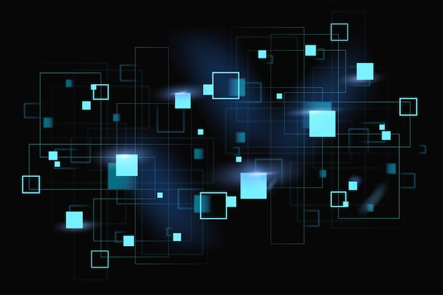 Tecnología digital de vector de formas geométricas de neón azul