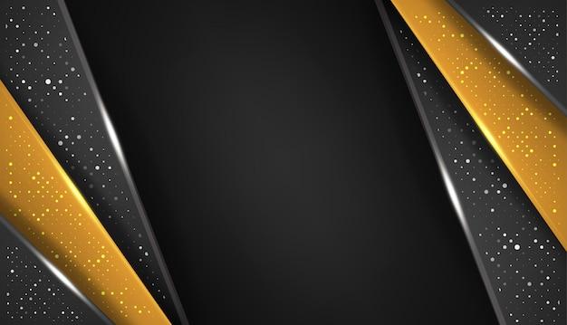 Tecnología de diseño de diseño de marco negro dorado abstracto de forma superpuesta con brillos y efecto de luz