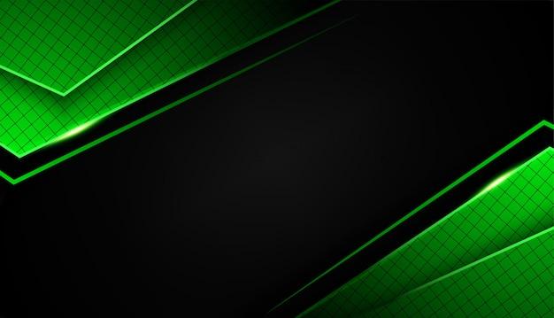 Tecnología de diseño de diseño de marco negro verde abstracto de forma superpuesta con brillos y efecto de luz