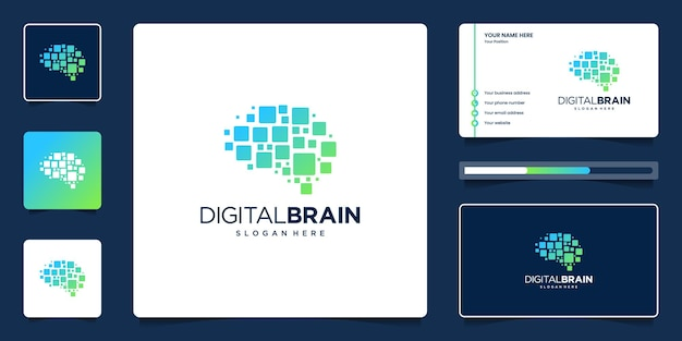 Tecnología de diseño de logo de cerebro digital. logotipo de conexión cerebral con tarjeta de visita.