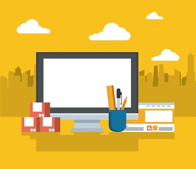 Tecnología dispositivo electrónico moderno gadget de dibujos animados.
