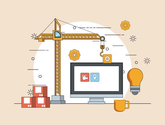Tecnología dispositivo mantenimiento soporte concepto caricatura