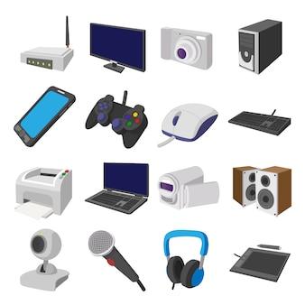 Tecnología y dispositivos de dibujos animados iconos conjunto vector aislado