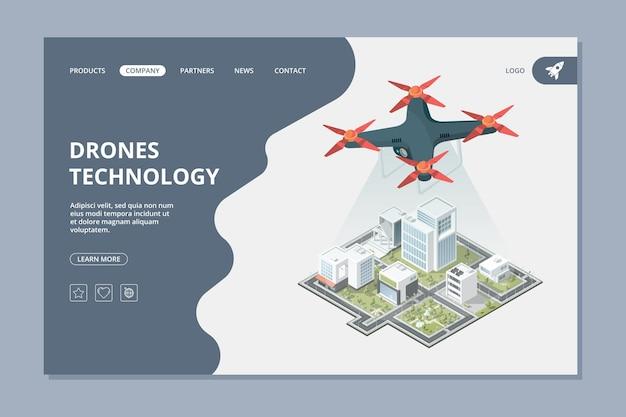 Tecnología de drones. diseño web de paisaje urbano de cámara digital voladora isométrica de ciudad inteligente de aterrizaje.