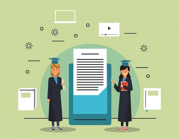 Tecnología de educación en línea con chicas estudiantes y tabletas
