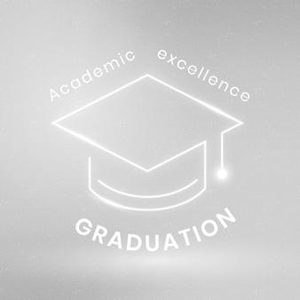 Tecnología de educación vectorial de plantilla de logotipo de excelencia académica con gráfico de gorra de graduación