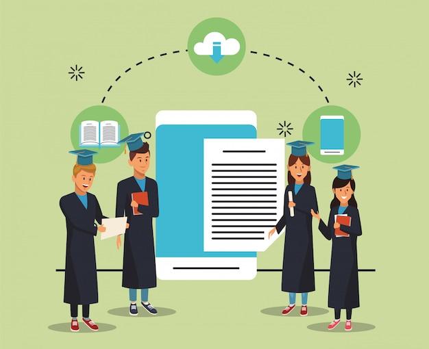 Tecnología educativa en línea con estudiantes y tabletas