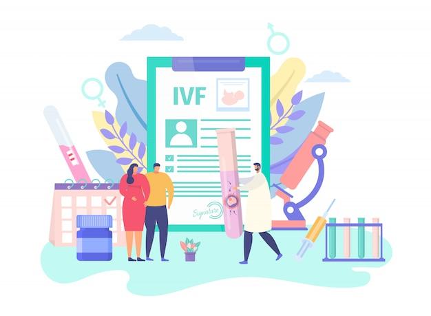 Tecnología de embarazo ivf, ilustración del concepto. tratamiento de infertilidad, inseminación artificial. hombre mujer paciente