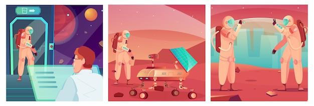 Tecnología espacial conjunto de ilustraciones cuadradas.
