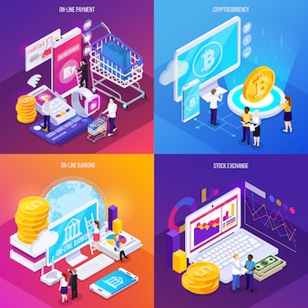 Tecnología financiera concepto isométrico pago electrónico criptomoneda banca en línea bolsa de valores aislada