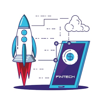 Tecnología financiera establecer iconos vector ilustración diseño