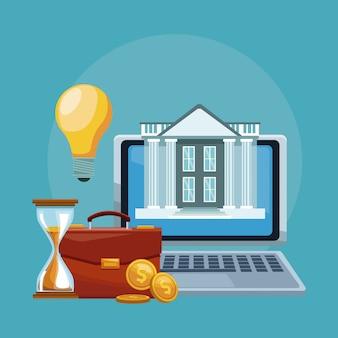 Tecnología financiera en línea de la computadora portátil