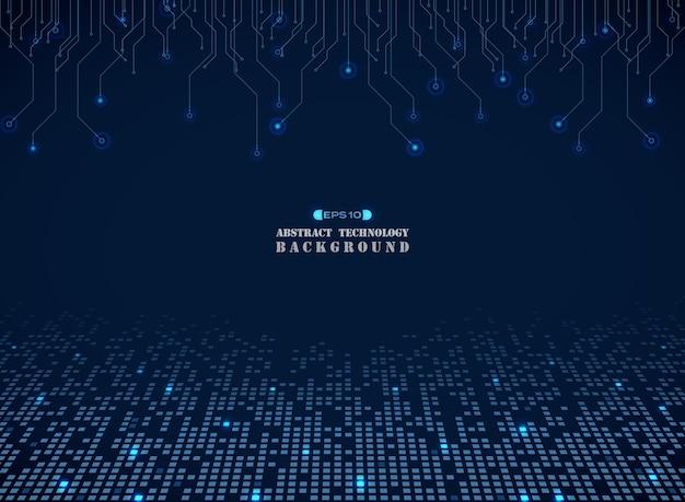 Tecnología de fondo cuadrado azul electrónica patrón