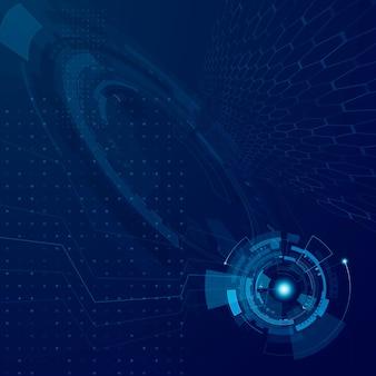 Tecnología futura abstracta de hud. concepto de desarrollo tecnológico del ciberespacio futurista. sistema de interfaz de ciencia ficción. ilustración digital fondo azul