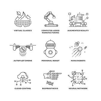 Tecnología futura e iconos de esquema de inteligencia artificial de robot