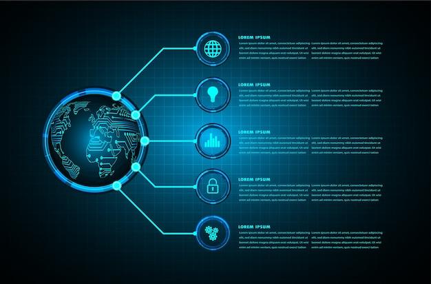 Tecnología futura de la placa de circuito binario, concepto de seguridad cibernética del mundo azul hud