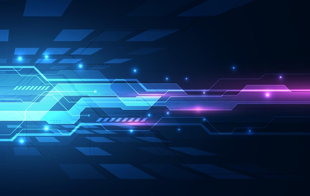 Tecnología futura de la placa de circuito binario, fondo azul del concepto de seguridad cibernética, internet digital de alta velocidad abstracto.