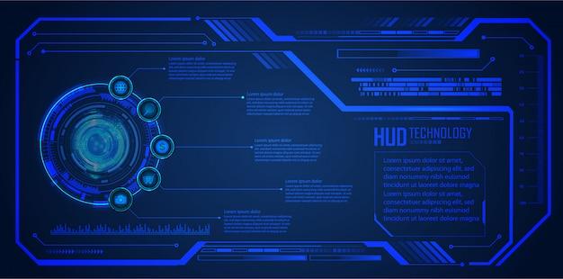Tecnología futura de la placa de circuito binario, fondo azul de seguridad cibernética del hud,