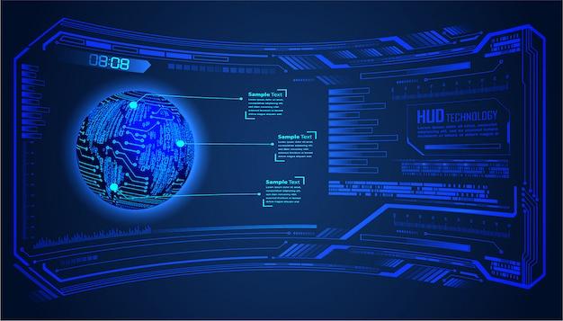 Tecnología futura de placa de circuito binario, fondo de concepto de seguridad cibernética de hud mundo azul