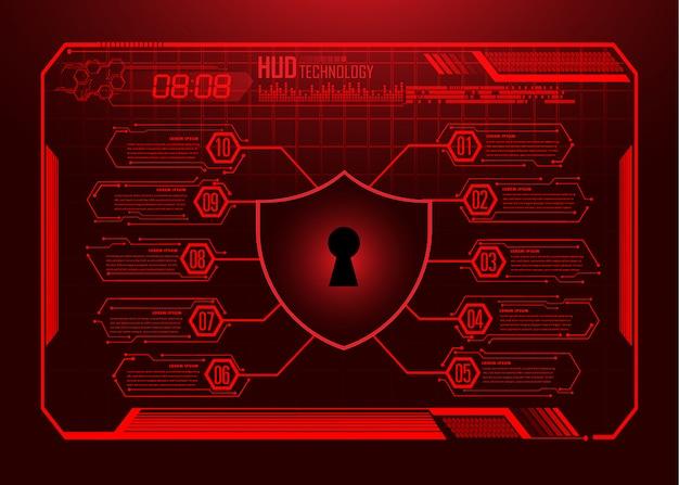Tecnología futura de la placa de circuito binario, fondo de seguridad cibernética de hud del mundo verde,