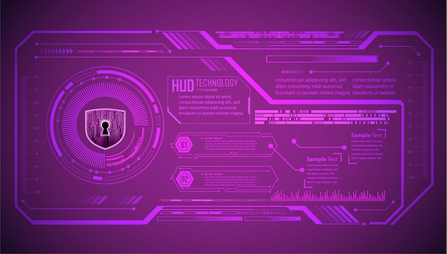 Tecnología futura de placa de circuito binario, fondo de seguridad cibernética de hud púrpura,