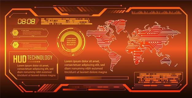 Tecnología futura de la placa de circuito binario, fondo de seguridad cibernética del mundo naranja hud,